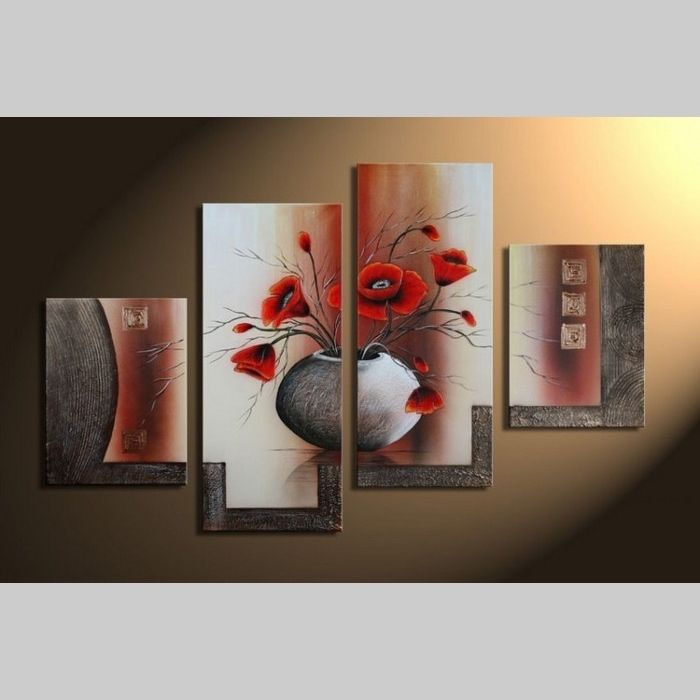 4 Leinwandbilder MOHN (3) 120 x 80cm Handgemalt