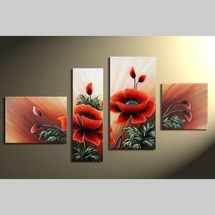 4 Leinwandbilder MOHN (4) 120 x 70cm Handgemalt