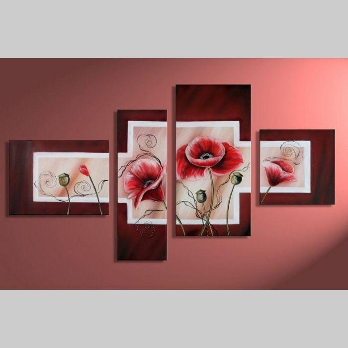 4 Leinwandbilder MOHN (5) 120 x 70cm Handgemalt