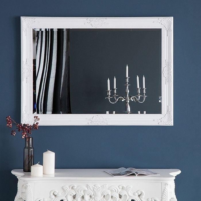 Romantischer Wandspiegel VERONIQUE Weiß Antik in Renaissance-Design 105cm x 75cm