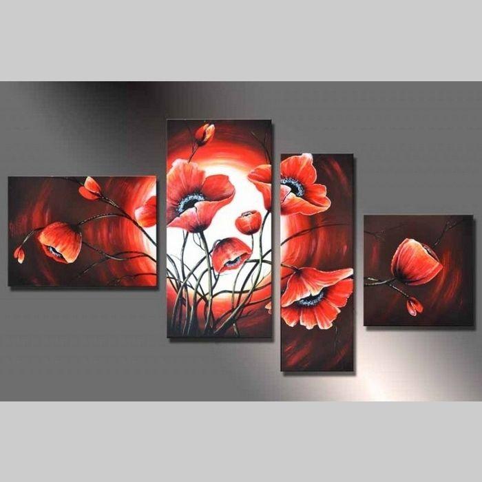 4 Leinwandbilder MOHN (8) 120 x 70cm Handgemalt
