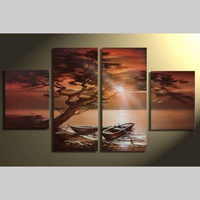 4 Leinwandbilder BOOTE am Ufer (2) 120 x 70cm Handgemalt