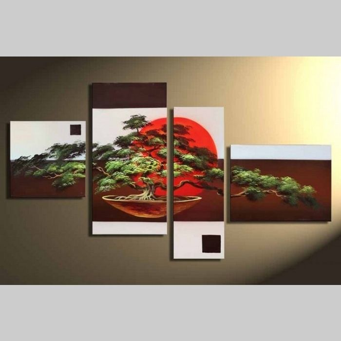 4 Leinwandbilder BONSAI (1) 120 x 70cm Handgemalt