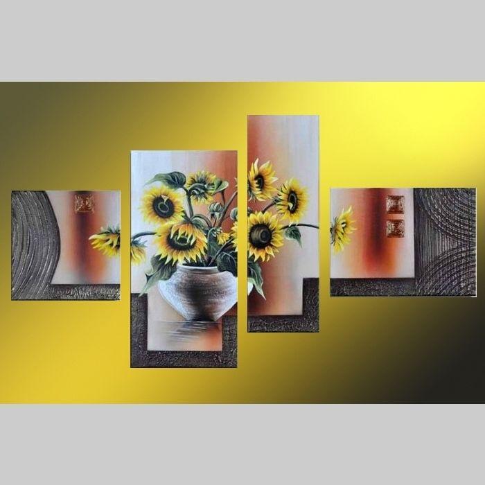 4 Leinwandbilder SONNENBLUME (1) 120 x 70cm Handgemalt