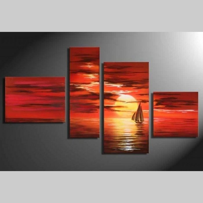 4 Leinwandbilder SONNENUNTERGANG (1) 120 x 70cm Handgemalt