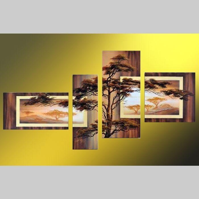 4 Leinwandbilder AFRIKA Baum (4) 140 x 80cm Handgemalt