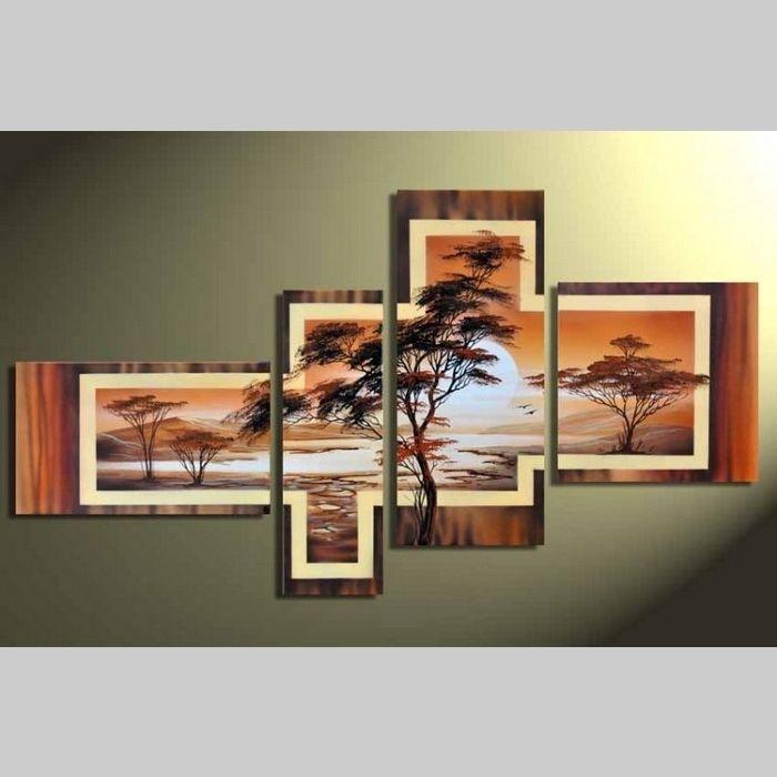 4 Leinwandbilder AFRIKA Baum (6) 140 x 80cm Handgemalt
