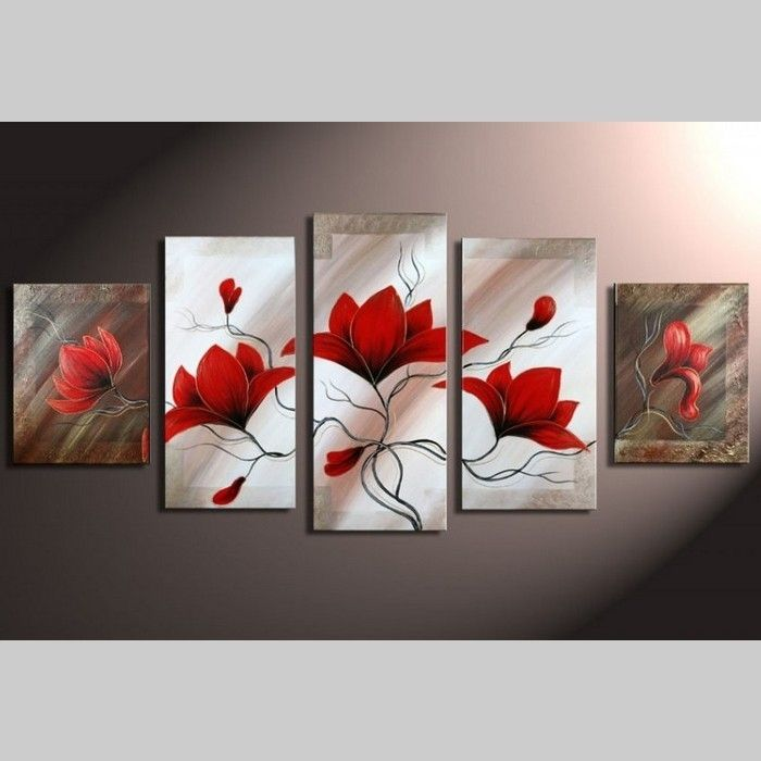 5 Leinwandbilder MAGNOLIA (3) 150 x 70cm Handgemalt