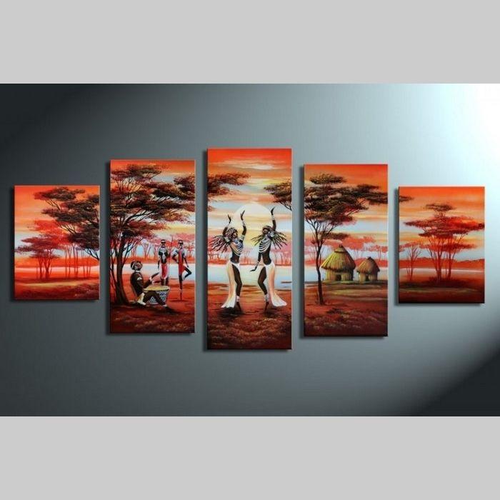 5 Leinwandbilder AFRIKA Frau (1) 150 x 70cm Handgemalt