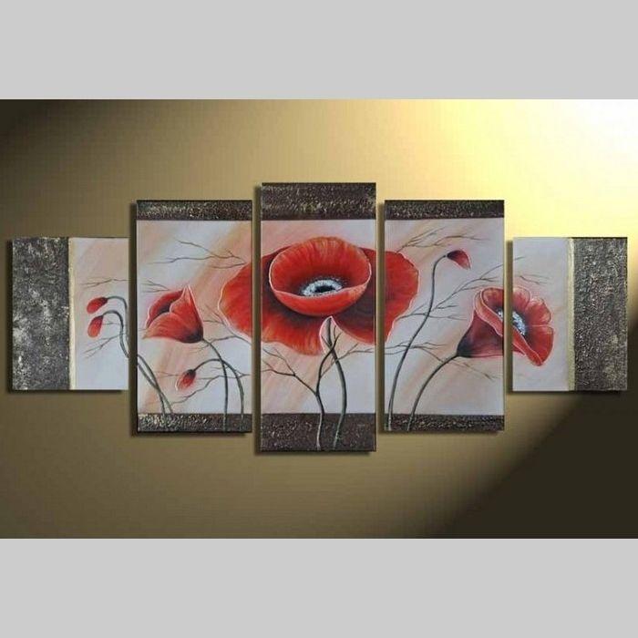 5 Leinwandbilder MOHN (6) 150 x 70cm Handgemalt