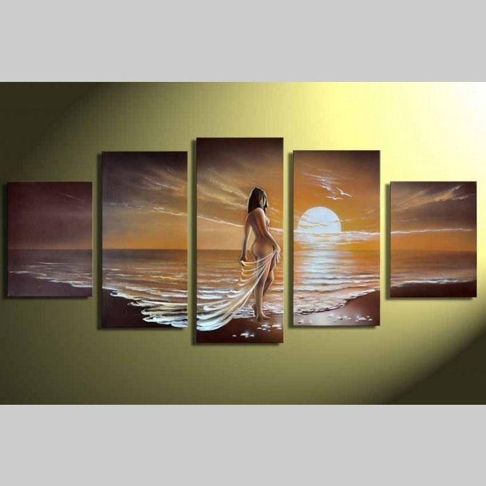 5 Leinwandbilder FRAU am Strand (1) 150 x 70cm Handgemalt