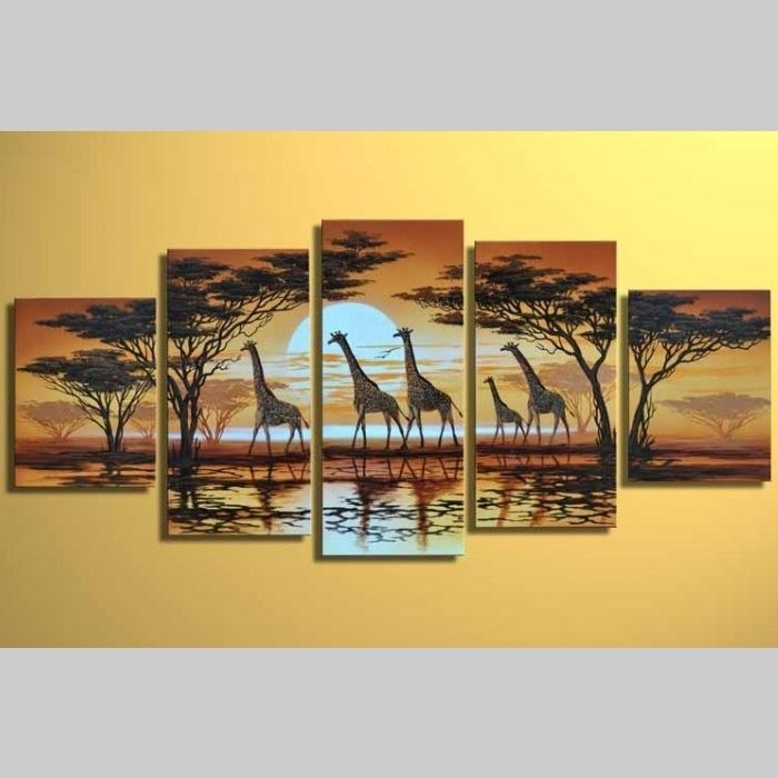 5 Leinwandbilder AFRIKA Giraffe (5) 150 x 70cm Handgemalt