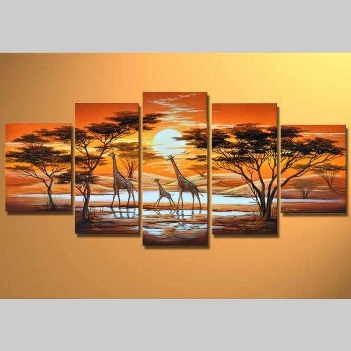 5 Leinwandbilder AFRIKA Giraffe (6) 150 x 70cm Handgemalt