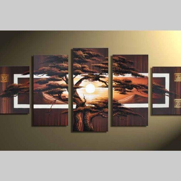 5 Leinwandbilder AFRIKA Baum (2) 150 x 70cm Handgemalt