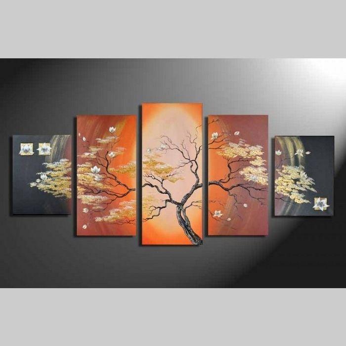 5 Leinwandbilder BLÜTE (1) 150 x 70cm Handgemalt