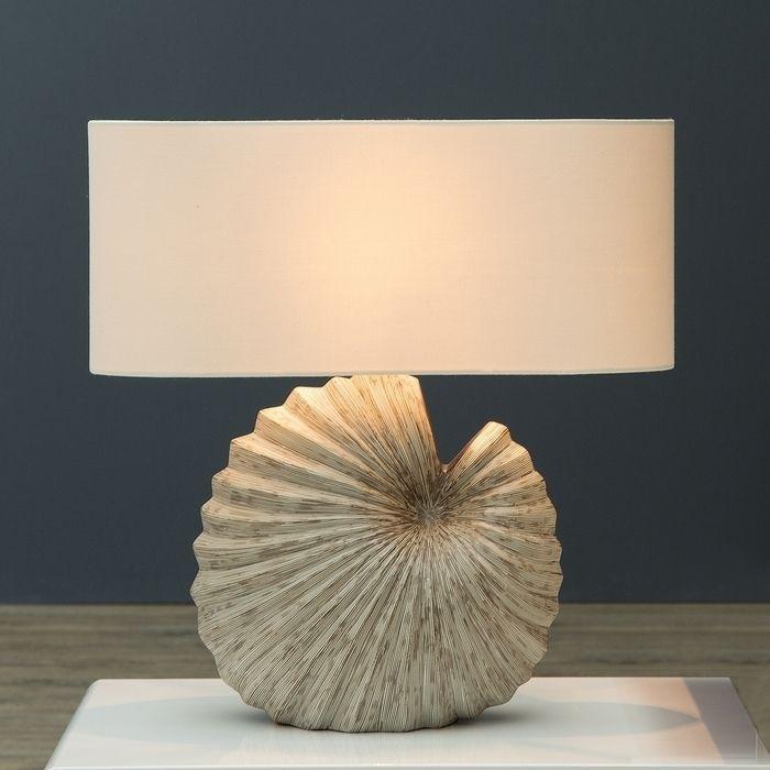 Tischlampe CONCHA Beige mit beige-braunem Keramikfuß in Muschelform 55cm Höhe
