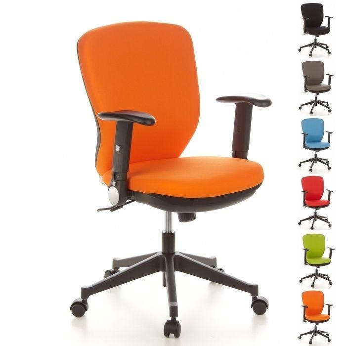 Bürostuhl STOCKHOLM Schwarz-Orange aus Stoff