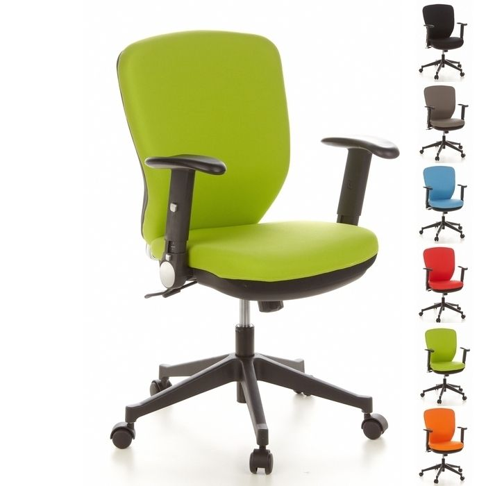 Bürostuhl STOCKHOLM Schwarz-Apfelgrün aus Stoff