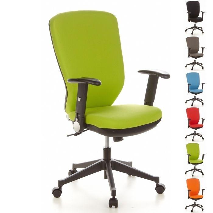 Bürostuhl HELSINKI Schwarz-Apfelgrün aus Stoff