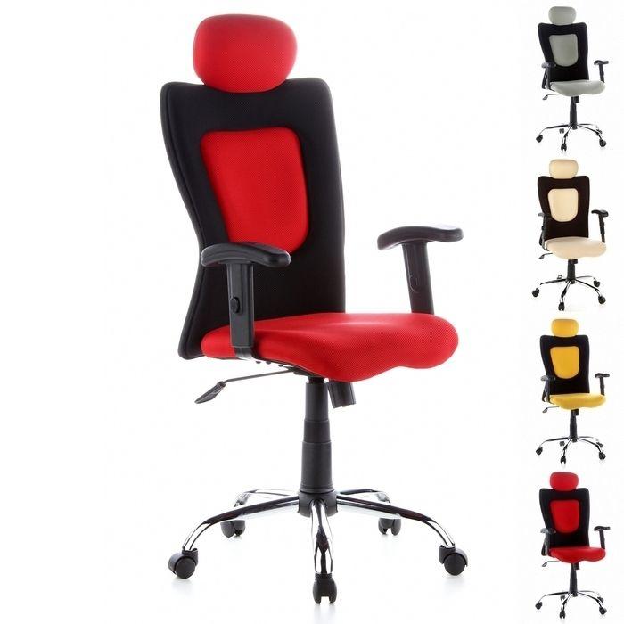 Bürostuhl MOSKAU Schwarz-Rot aus Netzstoff