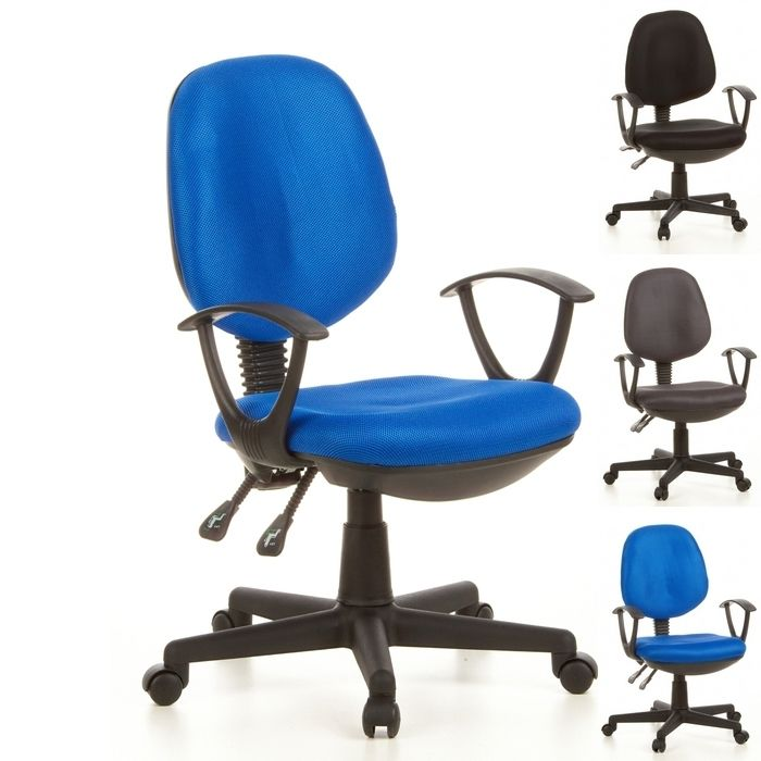 Bürostuhl VILNIUS Schwarz-Blau aus Netzstoff