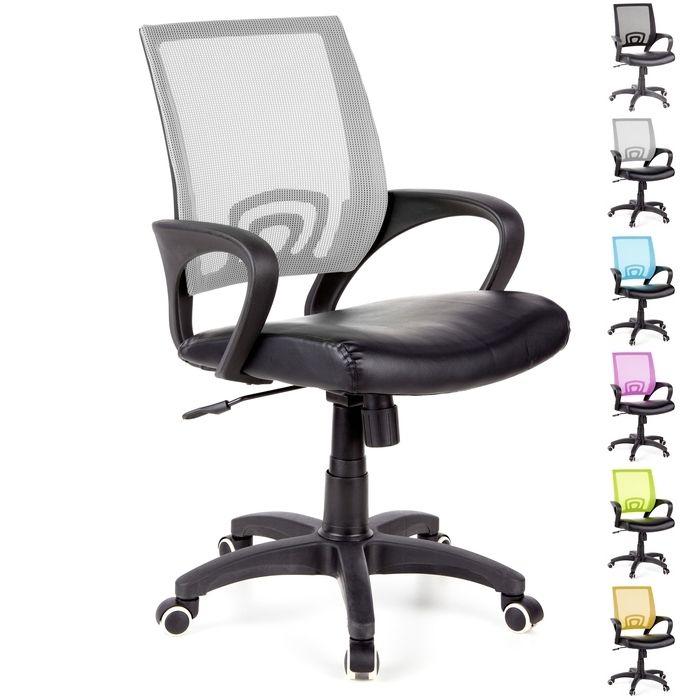 Bürostuhl BUDAPEST Schwarz-Grau aus Netzstoff & Kunstleder