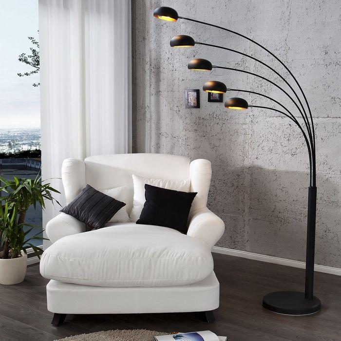 XL Stehlampe TULIPA Schwarz-Gold mit Metallfuß Schwarz 205cm Höhe