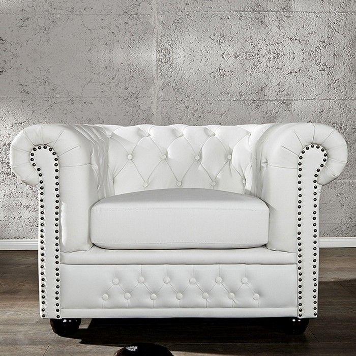 Sessel WINCHESTER Weiß im klassisch englischen Chesterfield-Stil