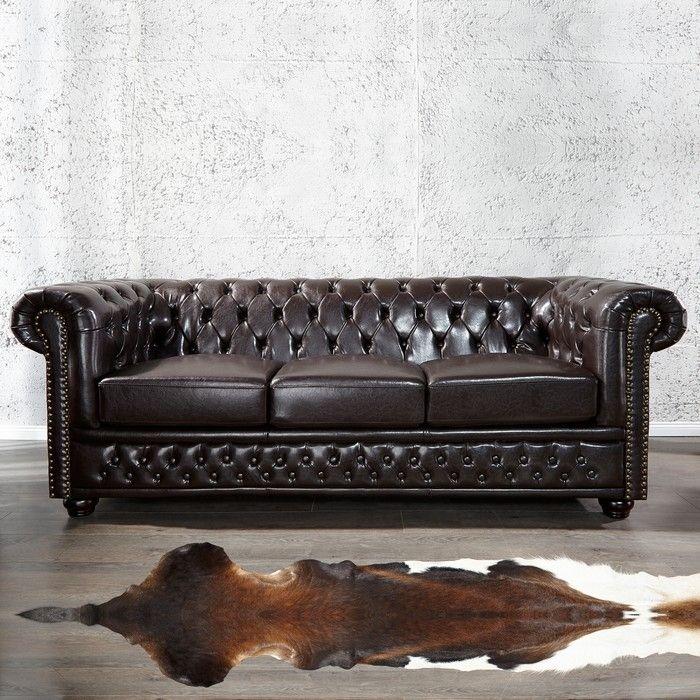 3er Sofa WINCHESTER Dunkelbraun im klassisch englischen Chesterfield-Stil