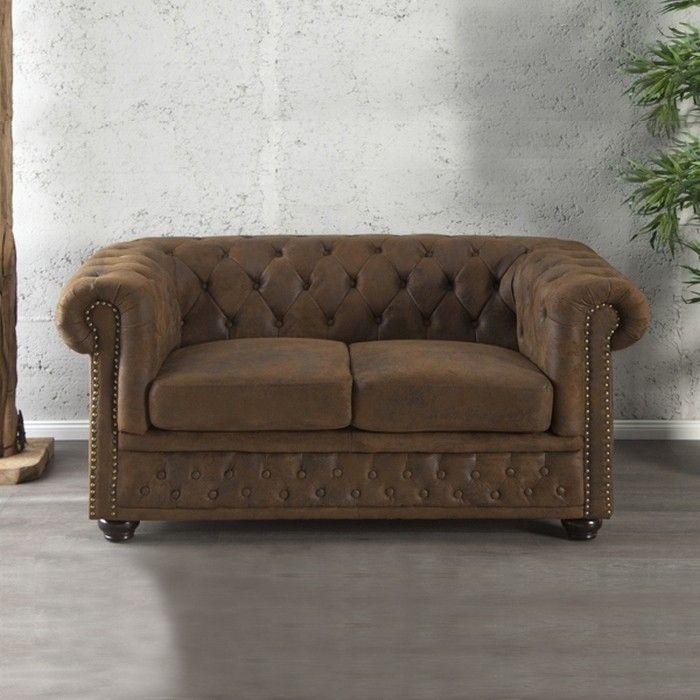 2er Sofa WINCHESTER Braun im klassisch englischen Chesterfield-Stil