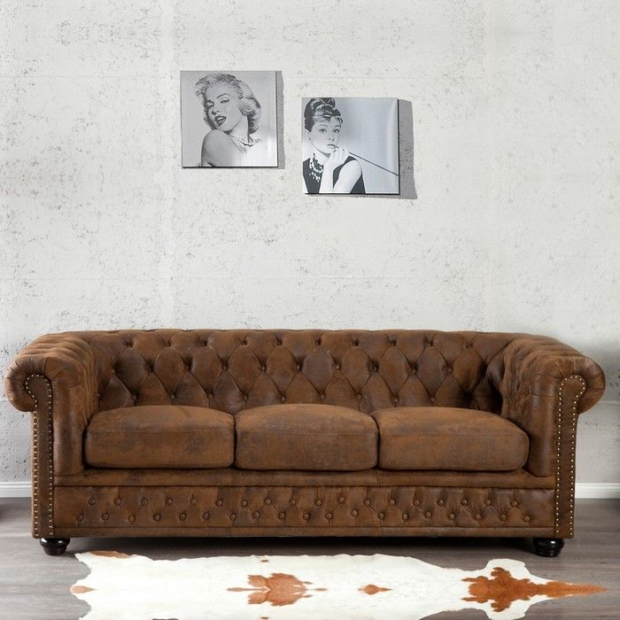 3er Sofa WINCHESTER Braun im klassisch englischen Chesterfield-Stil