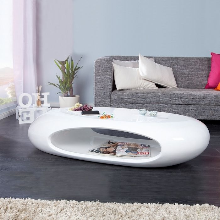 Couchtisch TORPEDO Weiß Hochglanz 135cm