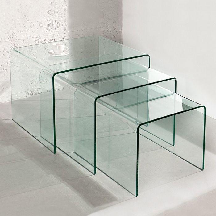 3er Set Beistelltische MAYFAIR Glas transparent 60/50/40cm