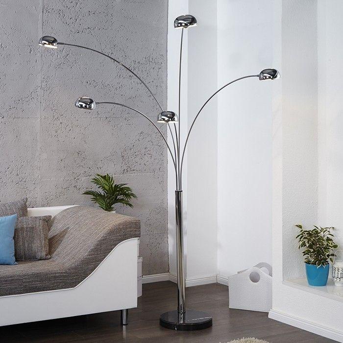 XL Stehlampe TULIPA Chrom glänzend mit Marmorfuß Schwarz 200cm Höhe