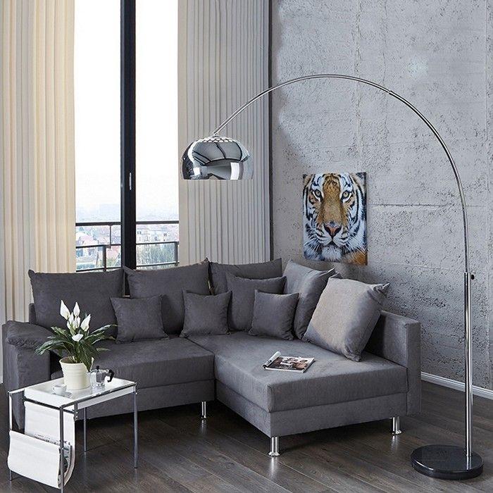 Bogenlampe LUXX Chrom glänzend mit Marmorfuß Schwarz 170-210cm Höhe