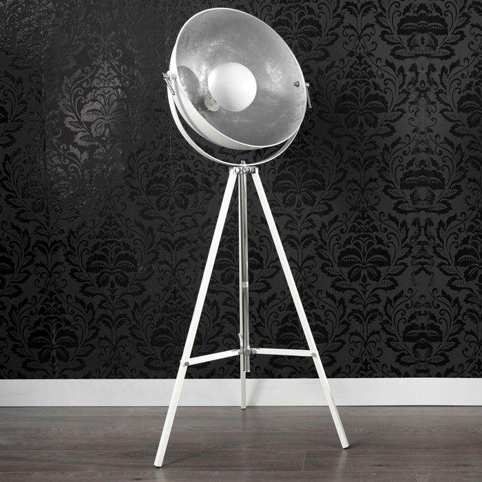 Stehlampe SPOT Weiß-Silber 160cm Höhe verstellbar