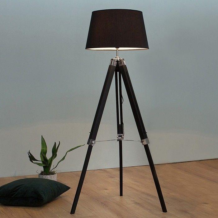 Stehlampe CUP Schwarz mit Dreibein-Gestell Braun aus Kiefernholz 100-145cm Höhe