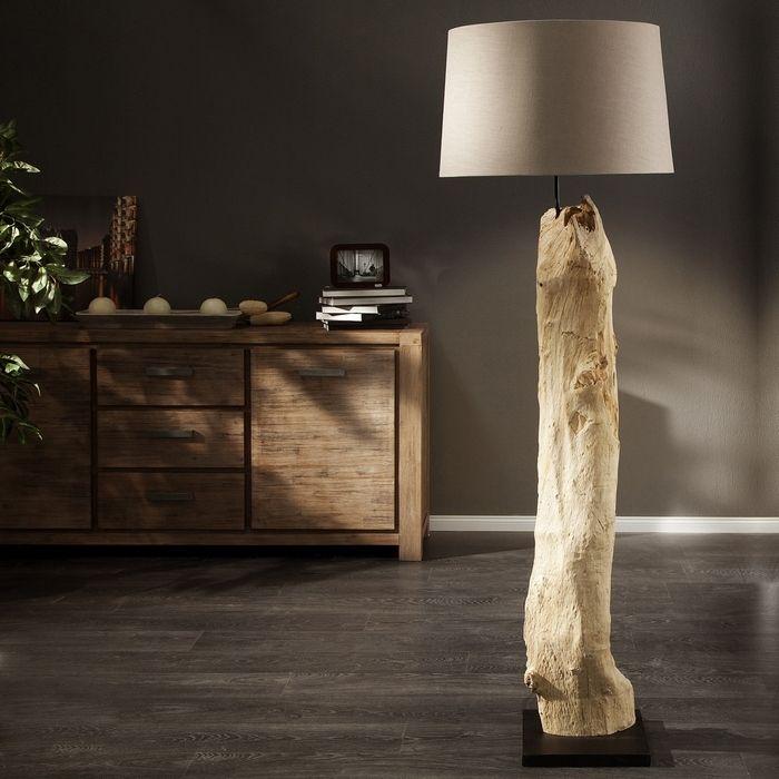 XL Stehlampe SUMATRA Beige aus Treibholz handgefertigt 175cm Höhe