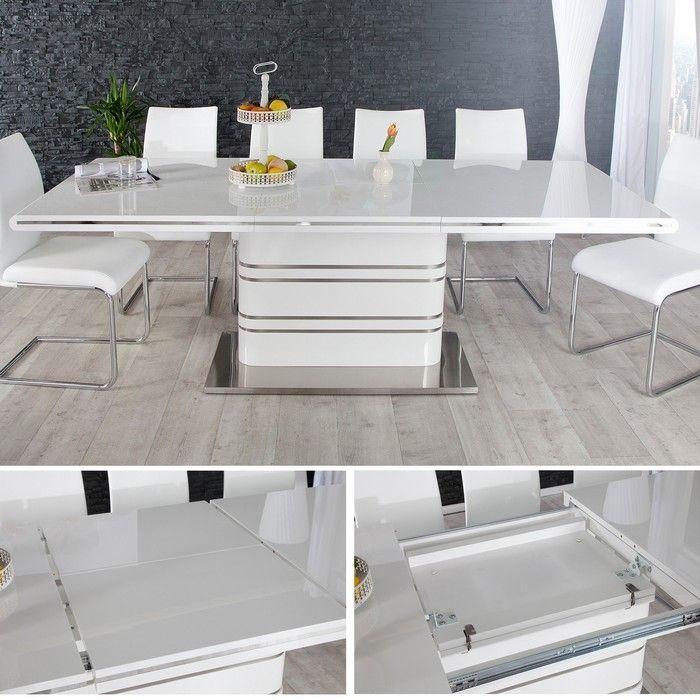 Esstisch KYOTO Weiß Hochglanz & Chrom 160-220cm ausziehbar