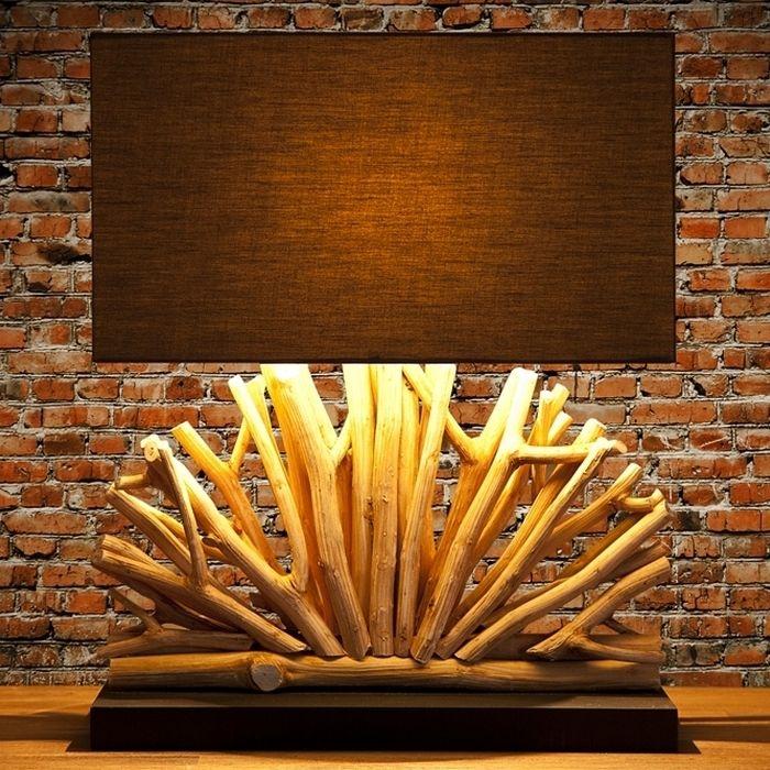 Tischlampe JAVA Braun im Fächer-Form aus Treibholz handgefertigt 50cm Höhe
