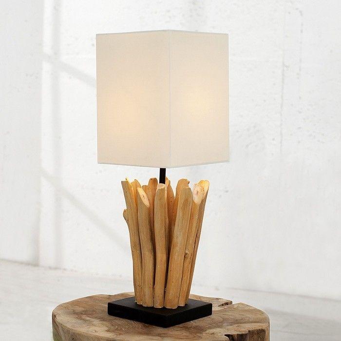 Tischlampe PENANG Weiß aus Treibholz handgefertigt 45cm Höhe