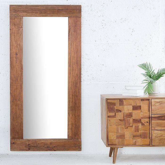 XXL Wandspiegel JAVA Braun aus recyceltem Teakholz massiv 180cm x 80cm