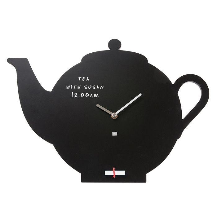 Wanduhr KITCHEN Teekanne Schwarz 45cm