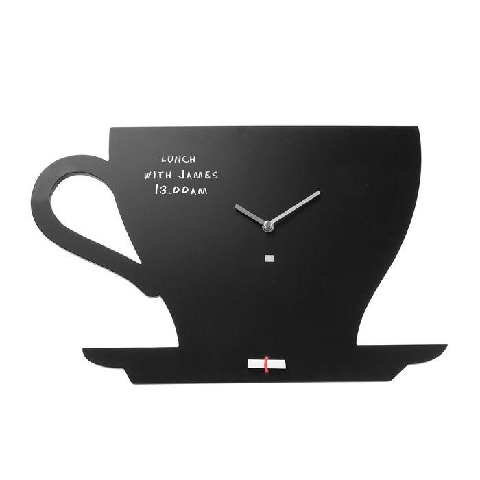 Wanduhr KITCHEN Tasse Schwarz 48cm