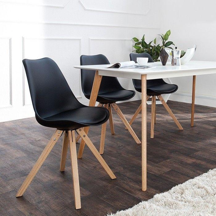 Retro Stuhl GÖTEBORG Schwarz-Eiche im skandinavischen Stil