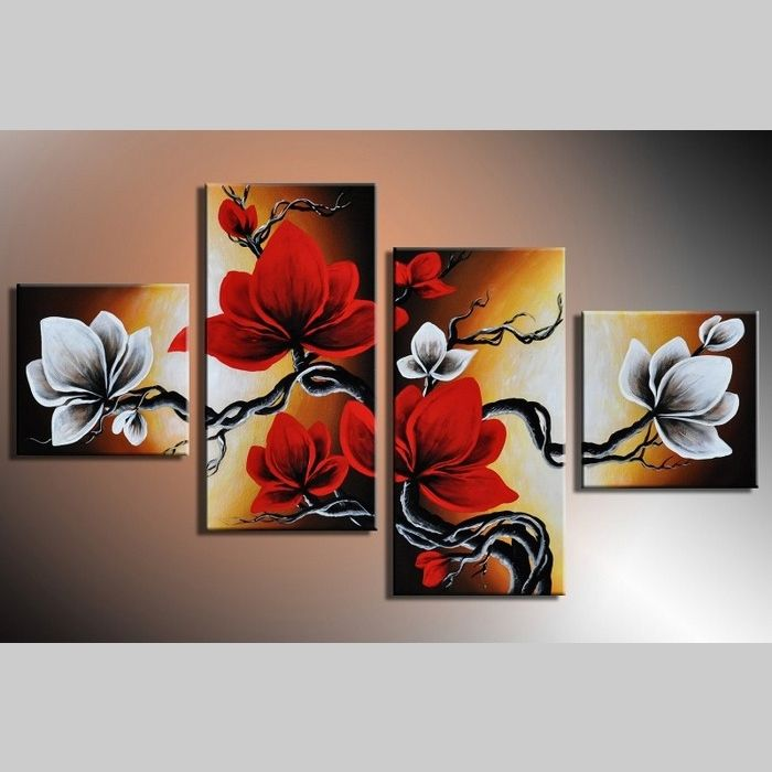 4 Leinwandbilder MAGNOLIA (4) 80 x 50cm Handgemalt