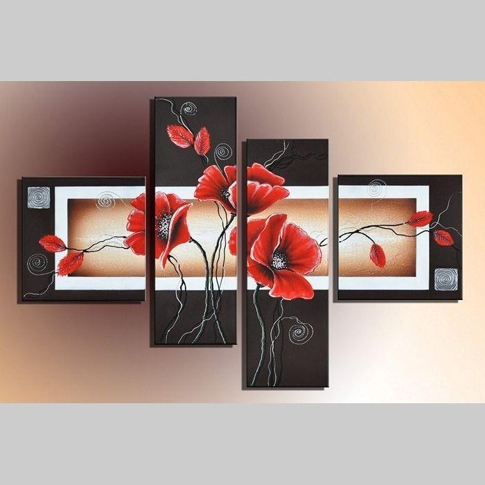 4 Leinwandbilder MOHN (4) 100 x 70cm Handgemalt