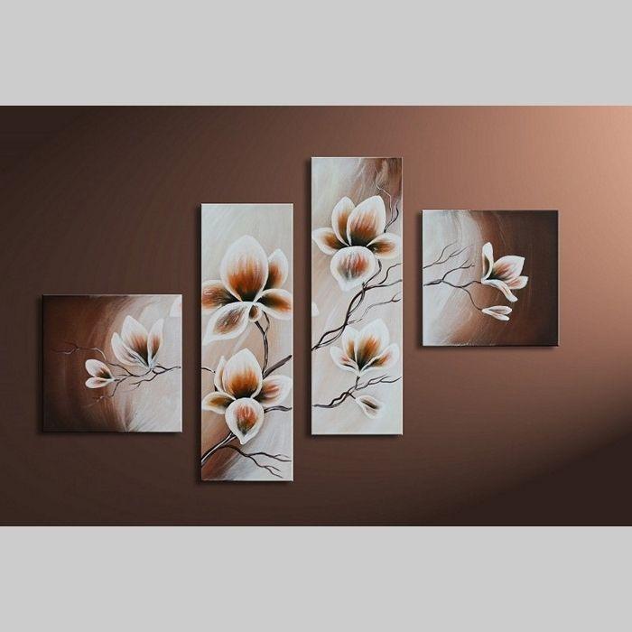 4 Leinwandbilder MAGNOLIA (9) 100 x 70cm Handgemalt