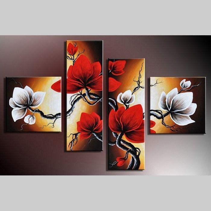 4 Leinwandbilder MAGNOLIA (10) 100 x 70cm Handgemalt