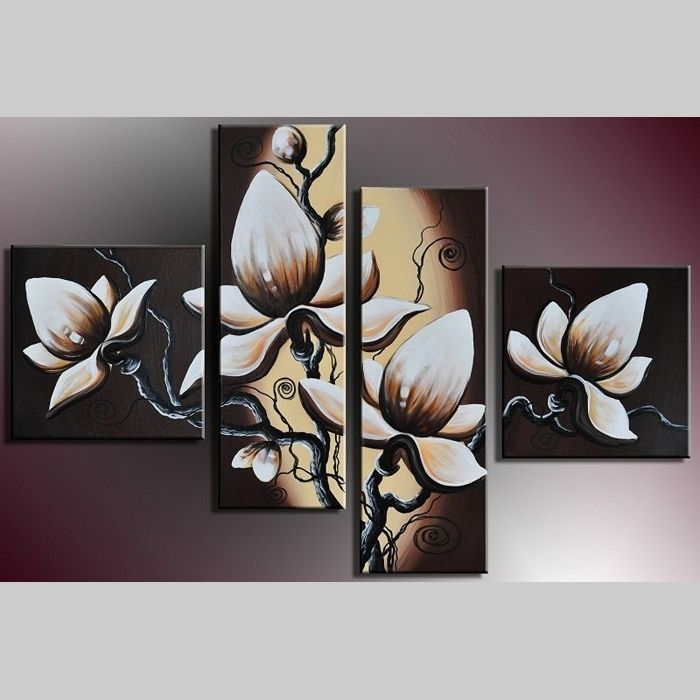 4 Leinwandbilder BLUMEN (1) 100 x 70cm Handgemalt